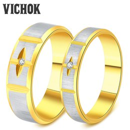 Wholesale Simple Cross Rings - 316L Stainless Steel Couple Rings Simple Cross True Love Rings For Women Men Lover Wedding Perfect Rings Fine Jewelry Band Wholesale VICHOK