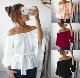 Wholesale Women Lace Ruffle Blouses - Off Shoulder Chiffon Blouse Women Flare Sleeve Wasit Lace Up Bow Belt Ruffle Shirts Tunic Ladies Tops Slash Neck Blusas DY170731