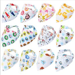 Wholesale Most Popular Kids - 100pcs lot Most Popular Baby Waterproof Bibs Triangle Cotton Baberos Double Layers Cartoon Animal Print Baby Kids Bandana Bibs Dribble Bibs