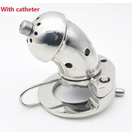 Wholesale Large Sex Cage - 2017 Latest Large Size Heavy Male Stainless Steel Cock Cage With Catheter Penis Ring Chastity Device Adult Bondage BDSM Sex Toy
