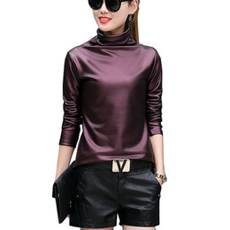 Wholesale Leather Women Long Sleeve Shirt - Plus size 4XL t-shirts women harajuku sexy long sleeve Turtleneck velvet t shirt female tops american apparel PU Leather t shirt