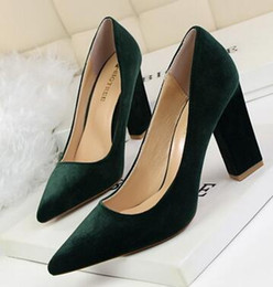 Wholesale Dark Purple Platform Heels - 2017 Sexy Black Flock Simple Women Shoes Thick High Heel Platform Woman Pumps Summer Pointed Toe Ladies Wedding Shoes NXX40