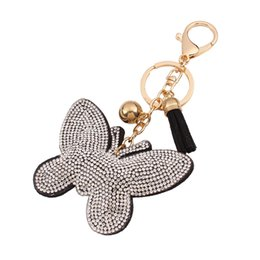 Wholesale Cars Candy - hot sale bag accessories charms key rings Fashion Cute Butterfly Candy color tassels encrusted with diamond leather keychain
