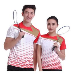 Wholesale High Waist White Denim Shorts - 2017 Sportswear Quick Dry Breathable Badminton Shirt, Women's   Men's Table Tennis Clothing Team White Suit Short Sleeve O Neck T Shirts
