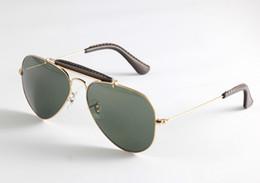 Wholesale Gradient Aviator Glasses - Outdoorsman Sunglasses for Men 3422Q Aviator Style Sunglasses Brand Designer Sunglasses Glass Lens Gafas de sol with Original Box