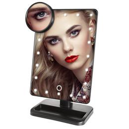 Aumentar la luz de la lámpara online-Ajustable 20 LED Iluminado Maquillaje Espejo Pantalla táctil Portátil Lupa Vanidad Lámpara de mesa Espejo cosmético con 10x Magnificar espejo redondo