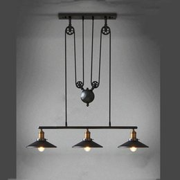 Wholesale Iron Switch - Vintage Iron RH Loft Industrial Pendant Lamp American Country Pulley Pendant Lights Adjustable Wire Lamps Retractable Bar Lighting + Mirror