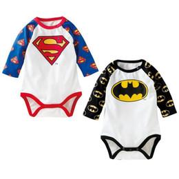 Wholesale Long Sleeve Batman Baby Onesies - 2017 New Superman Batman Cartoon Bodysuits Baby Boys Girls Bodysuits One Piece Cotton Onesies Long Sleeve Onesies