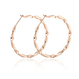 Wholesale Copper Loop - Yellow Rose White Gold Plated Large Big Round Circle Twisted Loop Hoop Earrings for Women Girls Party Jewelry Aros orecchini Gift