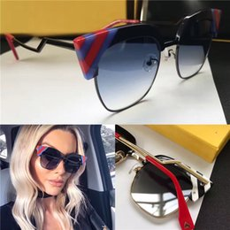 Wholesale Black Triangle Top - New fashion women brand designer sunglasses F 0241 cat eye half frame small triangle Splicing color outdoor summer style top quality uv lens