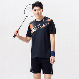 Wholesale Table Tennis Shirts Women - Badminton Shirt Men Women Couple Sports Quick Dry Breathable Clothes Table Tennis Uniforms Shirt+Shorts 1 Set Team Training Yellow T-Sh