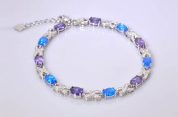 Wholesale Opal Bracelets - Wholesale & Retail Fashion 7.5 Inches Fine Rinbow & Blue Fire Opal Bracelet 925 Sterling Sliver Jewelry For Women _DSC3179