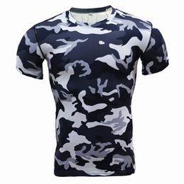 Wholesale Multi Layer T Shirt - Wholesale- New 2017 Men Base Layer Camouflage T Shirt Fitness Tights Quick Dry Camo T Shirts Crossfit Compression Shirt Brand clothing Tops