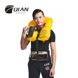 Wholesale Taped Jacket - Wholesale- QIAN SAFETY Professional Universal Inflatable Life Jacket Automatic SOLAS Approved Reflective Tape Waist Pocket Style Life Vest