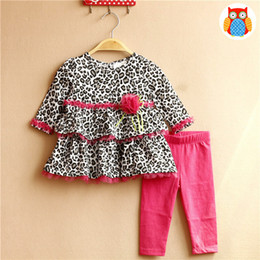 Wholesale Leopard Pants For Babies - New Fashion Baby Girls Outfits Sets Leopard Lace Flower Long Sleeve Tops Layer Shirts + Pants Tights 2piece Set Suits For Girl A7125