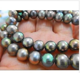 Wholesale Peacock Pearl Necklace Bracelet - 9-10mm natural tahitian peacock green pearl necklace 18''