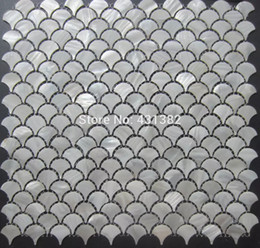 Wholesale Mosaic Tile Shapes - free shipping!! D=25;white mother of pearl tiles fan-shaped shell mosaic for wall mosaic tiles shell mosaic bathroom wall tiles