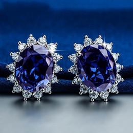 Wholesale Sterling Silver Earrings Gemstones - Princess Diana wedding earrings Jewelry Really solid 925 Sterling silver Oval Blue Sapphire Gemstone earrings Gift for Women Girlfriend