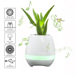Wholesale Night Light Mobile - 2017 New hot selling Portable speaker Smart Touch Piano Music Flower Potted Bluetooth Speakers Colorful Night Light Music Plant Lamp