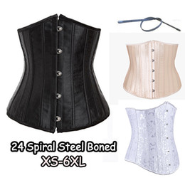 Wholesale Plus Size Black Waist Cincher - Corset 24 Full Steel Bone Waist Cincher Trainer Satin Corset Waist Training Corsets Underbust Plus Size Corset Modeling Strap XS-6XL