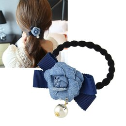 Wholesale Elastic Ribbon Braided - Hair Jewelry Black Elastic Braided Rope &Ribbon SimulatePearl Decoration Blue Flower Bowknot Headbands Hair Accessories
