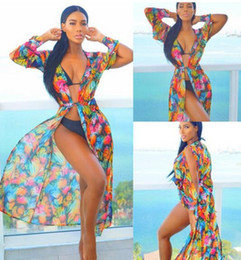 Wholesale Vacation Dresses - Women Floral Bikini Cover Ups Print Chiffon cardigan dress Beach vacation Rash Guards V-neck Sunscreen Shawl Boho Swimsuit blouse 2017