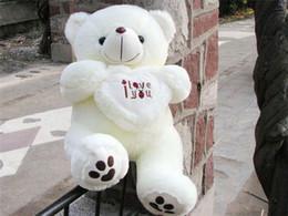 Wholesale Love Dolls Woman - Kawaii Teddy Bear Kids Plush Toys High-quality White I Love You Bear Stuffed Dolls for Women Valentine's Day Gift 50cm