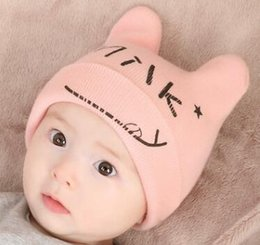 Wholesale Knit Baby Cow Hat - Baby winter cartoon cow horn wool hats autumn children fashion ear protects letter solid warm princess knitting caps wholesale