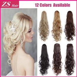 Wholesale Long Wavy Clip Extensions - Wholesale- Pony Tail Hair Extensions 1PC Long Curly Wavy Brown Color Synthetic Ponytail Extensions 28inch 70cm Clip In Hair Extension