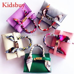 Wholesale Famous Babies - Kidsbuy Children's Fashion Leather Handabgs Girls Famous Brand Totes Kids Classice handbags with Scarf Preschool baby small purse KB019