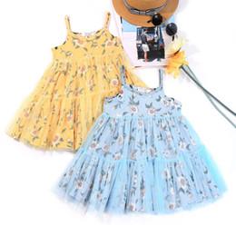 Wholesale Tulle Tutu Boutique - Baby Girl Beach Floral Dress Princess Tutu Braces Skirt INS Boutique Clothes Cute Short Tulle Dress