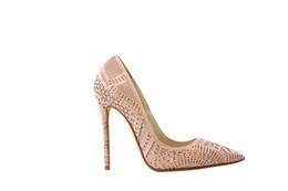 Wholesale Shining Crystal High Heels - Fashion Stiletto Heel Women Wedding Shoes Pink Shining Hollow Bride Shoes Woman Crystal Thin Heel Party Shoes Fretwork Rhinestone High Heels