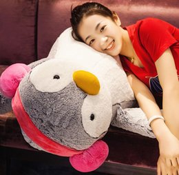 Wholesale Plush Blue Penguin - 2017 High quality 70cm Giant Cartoon Lover Penguins Plush Toy Big 28'' Soft Stuffed Penguin Stuffed Toy Pillow Child Gift