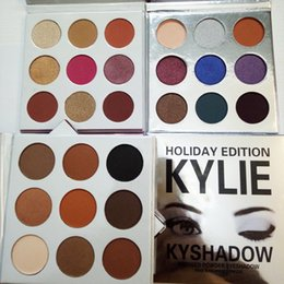 Wholesale Valentines Wear - Kylie Bronze Kyshadow Burgundy Pressed Powder Eye Shadow Palette Makeup Kylie Jenner Holiday Kit Cosmetics 9 Colors Eyeshadow Valentine Gift