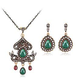 Wholesale Turkish Turquoise Jewelry - Vintage Turkish Jewelry Set Turquoise Flower Pendant Bridal Bracelet Ring Necklace Earring wedding jewelry sets maxi statement