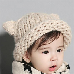 Wholesale Knitted Photography Props - new 2016 baby winter hat boys girls hats newborn photography props children cap knitted hat roll up cute ear cap in stock