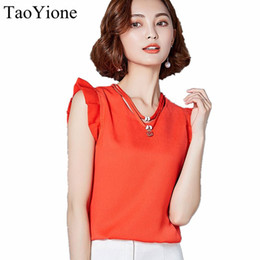 Wholesale Solid Chiffon Blouse Sleeveless - 2017 New Summer Blouses Women Chiffon Shirts Female Office Shirt Ladies Sleeveless Casual Tops Blusas Mujer Camisa Feminina Hot 17606