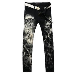 Wholesale Leg Painting - New 2017 Men`s Printed Jeans Punk Style Gothic Painted Cotton Straight Leg Cool Jeans for Young Men