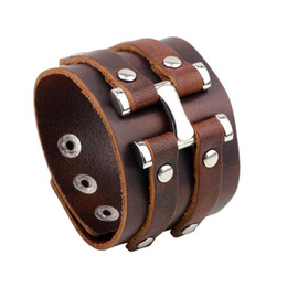 Wholesale Brown Leather Wristband Buckle - Punk Unisex Mens Jewelry 100% Real Genuine Leather Cowhide Black Brown Rivet Adjustable Wristband Metal Buckle Bracelets Bangles
