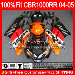 fairings body Coupons - Injection Body For HONDA CBR 1000RR CBR1000 RR 04 05 Bodywork 79HM1 CBR1000RR 04 05 CBR 1000 RR 2004 2005 Fairing kit 100% Fit Repsol orange