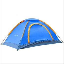 Wholesale Two Person Camping Tent - New quality outdoor camping 2 people 2 door double waterproof glass fiber rod portable tent(pink,green,blue,Coffee)