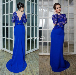 Wholesale Chiffon Beaded Straps Gown Bride - Royal Blue Long Sleeve Lace Evening Dresses Beaded Sash Bateau Neckline Soft Satin Sheath Mother Of the Bride Dress Backless Prom Gowns 2017