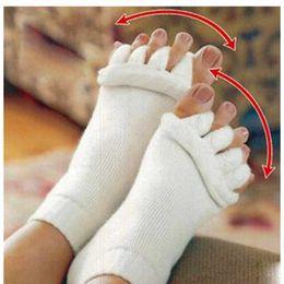 Wholesale Finger Foot - 1Pair Foot Massage Five Toe Socks Fingers Toe Separators Foot Alignment Pain Relief Socks For Pedicure Device Hallux Valgus Correction