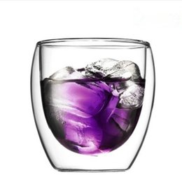 Wholesale Wholesale Double Blown Glass - Free shipping insulated glass pitchers double layer glass cup heat resistant creative milk water beverage coffee cups