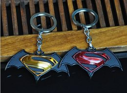 Wholesale Insect Key Chains - High quality New men's series of Batman War Superman pendant car male key chain KR059 Keychains mix order 20 pieces a lot