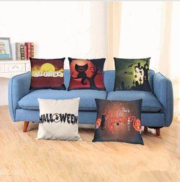 Wholesale Skull Cover Case - Halloween Pillow Case Linen Outdoor Halloween Theme Skull Black Cat Cushion Cover Case Home Sofa Décor Pumpkin pillowcases KKA2421