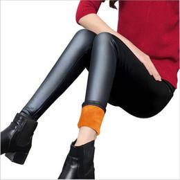 Толстые бархатные леггинсы онлайн-Wholesale- Women Leggings faux leather pants Plus velvet thick leggings High elasticity sexy pants leggins S-3XL leather warm leggings