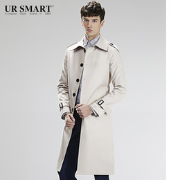 Wholesale Long White Rice - Wholesale- Royal detective URSMART single-breasted long men's windbreaker waist rice white male trench coat of cultivate one's morality