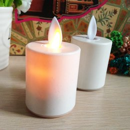 Wholesale Wholesale Flickering Led Bulbs - Electric Candles Realistic And Bright Flickering Bulb LED Tea Light For Seasonal Festival Celebration Fake Candle In Warm White Wave Open