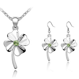 Wholesale Womens Gold Filled Earring Sets - Four Leaf Clover Flower Pendant Necklaces Earrings Set Made With Crystals from Swarovski Elements Fashion Jewelry Womens Accessories 24533